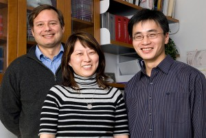 <p>Joseph Loturco, left, professor of physiology and neurobiology, with graduate students Yoon Jeung Chang, center, and Yu Wang. Photo by Frank Dahlmeyer </p>
