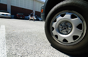 Eco friendly parking lot outside of the Hugh S. Greer Field House.  Photo by Jessica Tommaselli