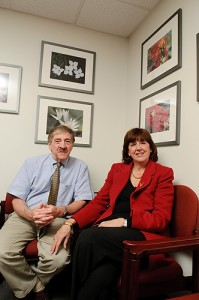 <p>Neag School of Education professors Joseph Renzulli and Sally Reis. Photo by Peter Morenus</p>