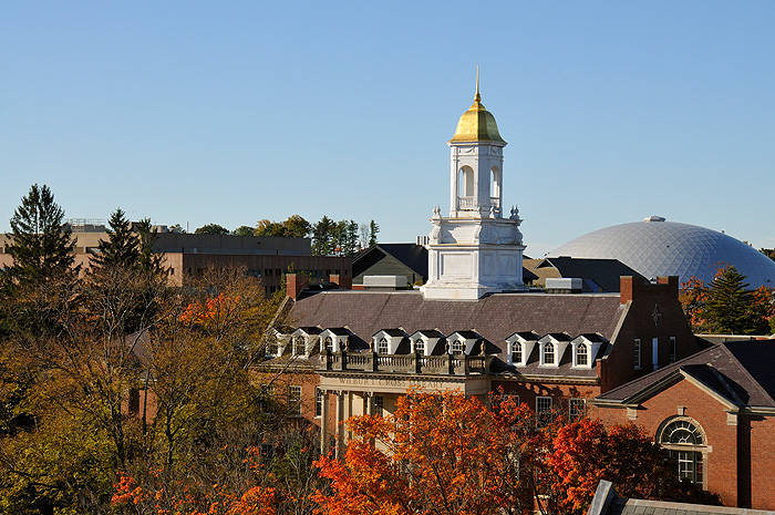 <p>A view of the Storrs Campus, with the Wilbur Cross Building in the foreground. Photos by Peter Morenus</p>