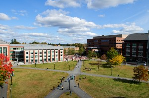 <p>A view of the Student Union Mall, as seen from the roof of the Student Union, showing, from left, the Center for Undergraduate Education, Homer Babbidge Library, and the Information Technologies Engineering Building. Photo by Peter Morenus</p>