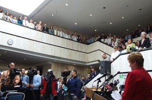 <p>Gov. M. Jodi Rell addresses a standing room-only crowd at the Health Center. Photo by Chris DeFrancesco</p>