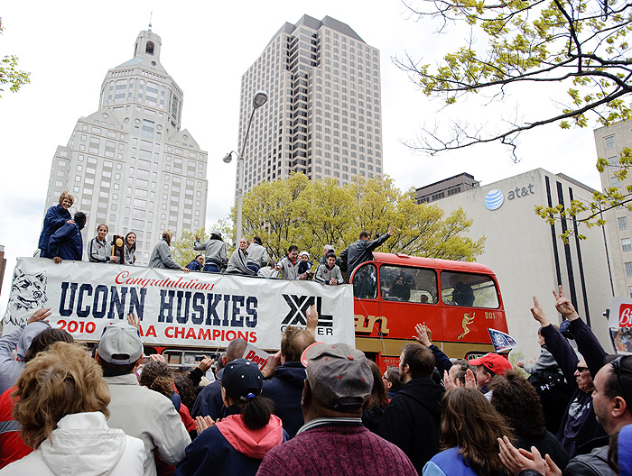<p>Photos of the parade in downtown Hartford to celebrate the Women's Basketball team's NCAA championship win. Photo by Peter Morenus  </p>