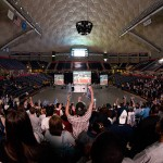 Students watch the women's NCAA title game at Gampel Pavilion in 2010. (Frank Dahlmeyer/UConn Photo)