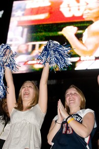 <p>Students watch the women's NCAA title game at Gampel Pavilion. Photo by Frank Dahlmeyer    </p>