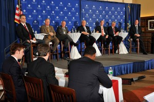 <p>Republican candidates Christopher Acevedo, left,  Mark Boughton, Lawrence Denardis, Michael Fedele, Thomas Foley, Nelson Griebel and Thomas Marsh. The gubernatorial debates were held at the William H. Starr Reading Room at the Law School.</p>