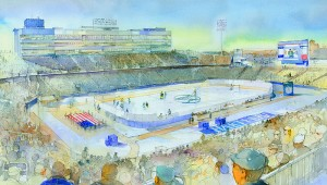 <p>An artist's rendering of Rentschler Field set up to host a hockey game. Rendering courtesy of Whalers Sports and Entertainment</p>