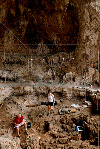 <p>View of excavation area at Hilazon Tachtit Cave, Israel. Photo by Naftali Hilger</p>