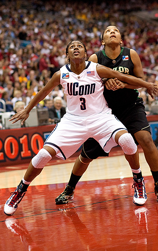 <p>Junior guard Tiffany Hayes is a unanimous All-Big East pre-season selection.  She is also on the Wooden Award list. Provided by Division of Athletics</p>