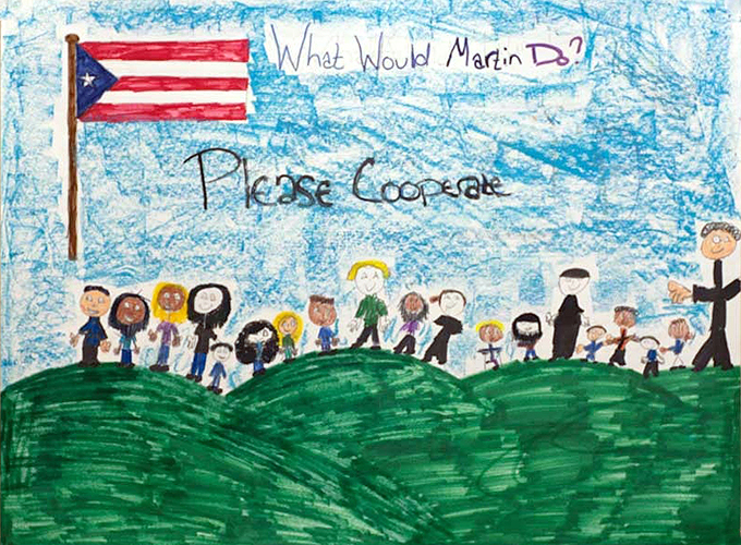 <p>Submissions to a poster contest for the UConn Martin Luther King Jr. Day. Artwork by Jennifer Torres, American School for the Deaf, grade 6.</p>