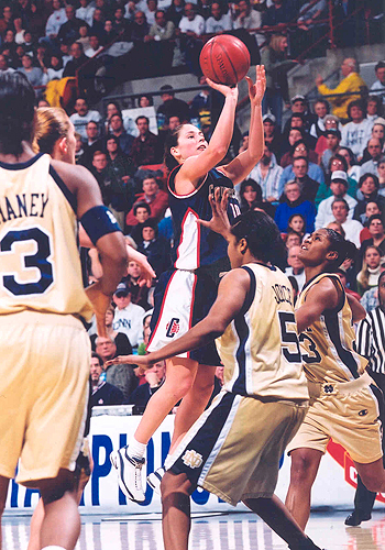 <p>Sue Bird shoots during the 2001 Big East Championship game. Photo provided by the Division of Athletics.</p>