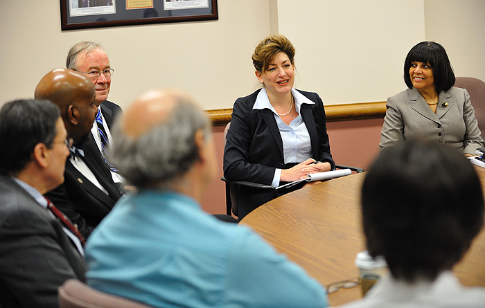 <p>President designate Susan Herbst ,top center, meets with senior administrators at the UConn Health Center. Seated clockwise from Herbst are Carolle Andrews, chief academic officer, Marja Hurley, professor of Medicine, Marc Lalande, professor and chair Genetics and Developmental Biology.  William Kleinman, assistant attorney general, Cato Laurencin, vice president for Health Affairs,  and Provost Peter Nicholls. Photo by Peter Morenus</p>