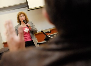 """<p>Sharon Nunes, IBM VP and UConn alum, speaks with UConn students and staff to answer questions about """"Watson,"""" a supercomputer with the ability to play Jeopardy. Photo by Lauren Cunningham</p>"""
