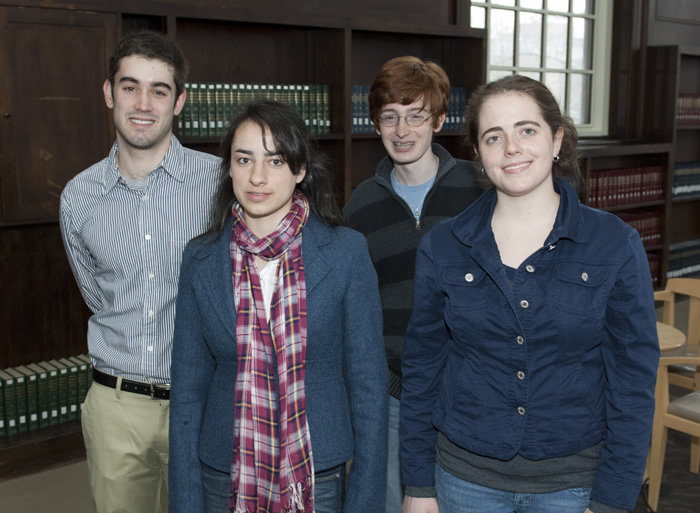 <p>Goldwater Scholarship winners (l to r) David Lindsay, CLAS, Kathleen Carey, CANR, Colin Carlson, CLAS, and Anna Green (CLAS)</p>