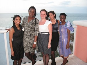 Radhika Nakrani, Yemi Ajayi, Joanne Cyganowski, Daniella Vega and Abimbola Sunmonu at the networking dinner at the second annual National Women in Surgery Career Symposium held at the University of South Florida in Clearwater, Florida. (Olayemi Ajayi for UConn Health Center)