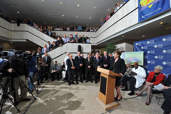 <p>President designate Susan Herbst speaks at a press conference held at the UConn Health Center to announce Bioscience Connecticut on May 17, 2011. Photo by Peter Morenus</p>