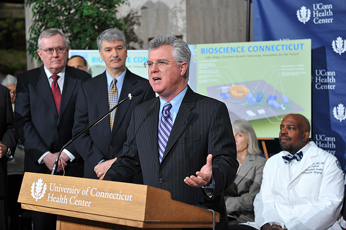 <p>House Majority Leader Christopher Donovan, (D-Meriden) speaks at a press conference held at the UConn Health Center to announce Bioscience Connecticut on May 17, 2011. Photo by Peter Morenus</p>