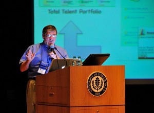 Joseph Renzulli, distinguished professor emeritus of gifted education and talent in the Neag School of Education and director of the National Research Center on the Gifted and Talented, addresses Confratute – a week-long institute devoted to enrichment-based differentiated teaching.Under the leadership of Renzulli, Confratute (which stands for CONFerence and instiTUTE and FRATernity) has been held annually at UConn for over 30 years. It attracts teachers, curriculum and enrichment specialists, administrators, school counselors, and others interested in education for gifted and talented students. (Peter Morenus/UConn Photo)