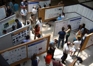Poster presentations displayed in the academic lobby for Graduate Student Research Day on June 9, 2011. (Photo provided by Stephanie Rauch)