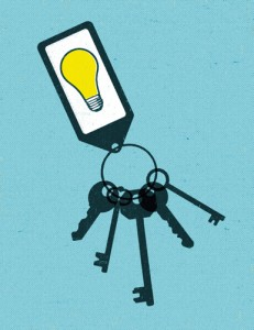 Illustration of keys with key ring that shows a light bulb.