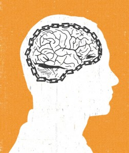 Illustration of head with chain around the brain.