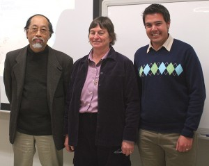 Andrew Pask, right, with Asao Fujiyama, from the Japanese team, and Marilyn Renfree of the University of Melbourne, the lead author.