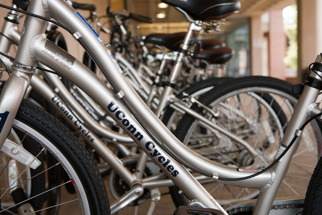 UConn bicycles are available for loan outside Homer Babbidge Library. (Sean Flynn/UConn Photo)
