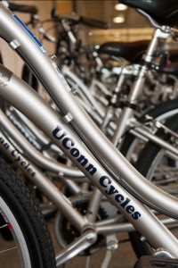 A row of UConn bicycles outside the Homer Babbidge Library.