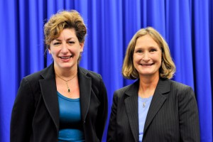 President Susan Herbst, left, and Mary Holz-Clause, vice president for economic development.