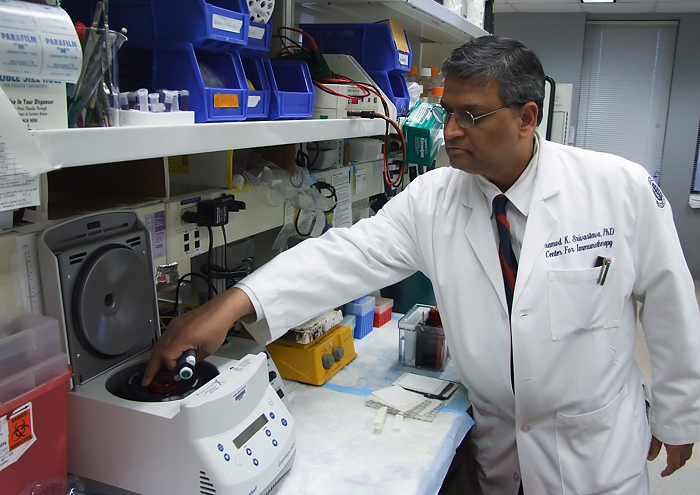 Dr. Pramod K. Srivastava, director of the Neag Comprehensive Cancer Center, in his lab. (Chris DeFrancesco/UConn Health Center Photo)