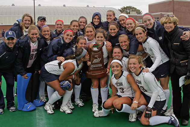 The No. 4 Huskies field hockey team clinched at least a share of their 12th Big East regular season title over the weekend after a dramatic 3-2 double overtime win against No. 6 Syracuse at the George J. Sherman Family Sports Complex. The Huskies have posted at least 15 wins in 16 or the last 18 seasons under Hall of Fame head coach Nancy Stevens. The Huskies, who have posted a 15-1 record in 2011, try to wrap up a perfect Big East season on Friday at Rutgers. The Big East Championship will take place Nov. 5-6 in Syracuse.