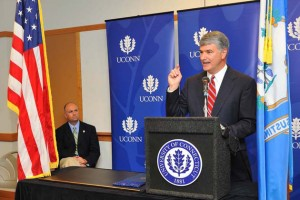 State Senate President Pro Tempore Donald Williams Jr. speaks during a ceremony in August to sign legislation to build a technology park at UConn. (Peter Morenus/UConn Photo)