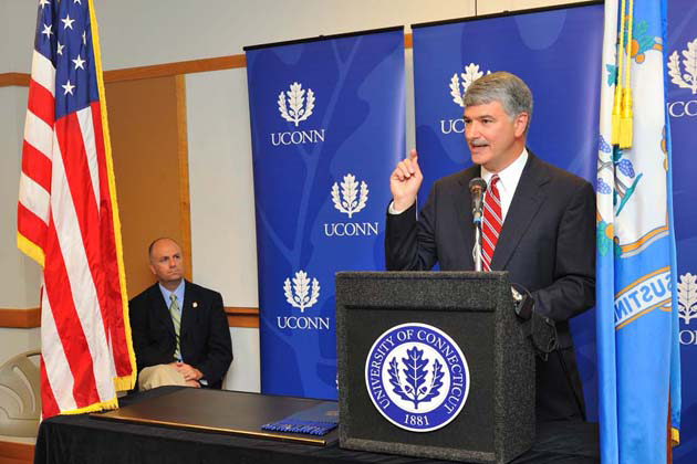 State Senate President Pro Tempore Donald Williams Jr. speaks during a ceremony to sign legislation to build a technology park at UConn. The event was held at the Advanced Technology Laboratory on Aug. 25, 2011.(Peter Morenus/UConn Photo)