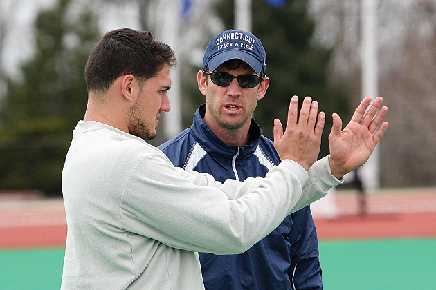 Assistant head coach Rich Miller '95 (ED), right, with Ben Waruch '13 (CLAS).