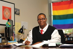 Fleurette King, director of the Rainbow Center, in her office. (Peter Morenus/UConn Photo)
