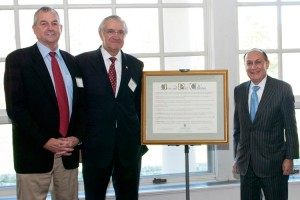 From left, Jim Calhoun, Dr. Peter Deckers, and UConn Foundation board chairman Mark Shenkman. (UConn Foundation Photo)