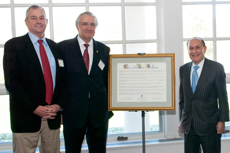 (left to right) Jim Calhoun, Dr. Peter Deckers and UConn Foundation board chairman Mark Shenkman.