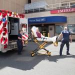 Paramedics bring a patient to the UConn Health Emergency Department. (Lanny Nagler for UConn Health)