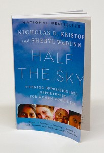 A photo of the first book to be selected for the UConn Reads Program named Half the Sky by Nicholas D. Kristof and Sheryl WuDunn on October 28, 2011. (Sean Flynn/UConn Photo)