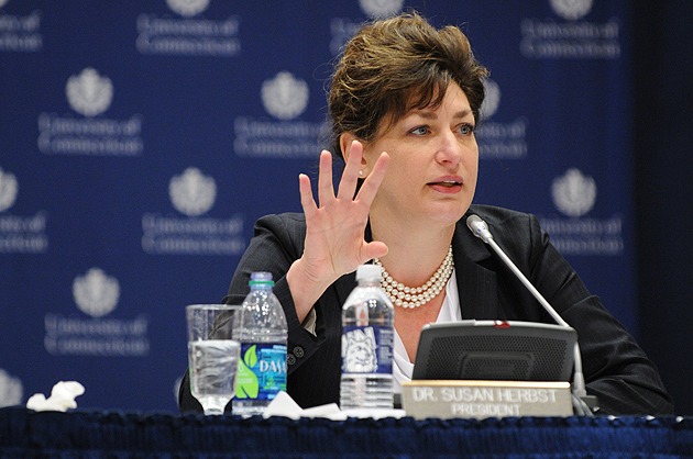 President Susan Herbst speaks on the proposed tuition increase during the Board of Trustees meeting at Rome Ballroom on Dec. 19, 2011. (Peter Morenus/UConn Photo)