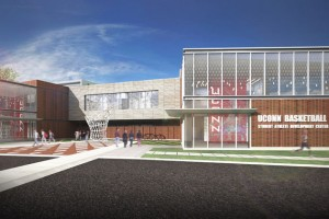 Architect's rendering of the UConn Basketball Student-Athlete Development Center.