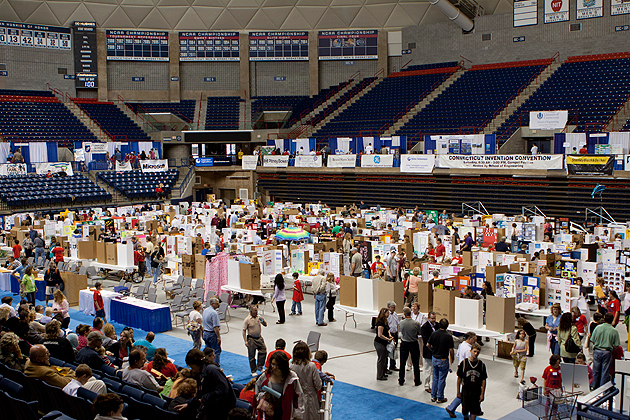 Connecticut Invention Convention held last spring. More than 650 young inventors in grades K-8 participated in the event. (Christopher LaRosa/UConn photo)