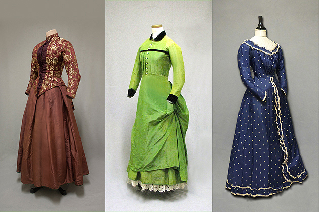 Women of New England: Dress from the Industrial Age, 1850–1900. Cranberry brocade bodice and maroon silk taffeta skirt, 1880. 1875 young woman's day dress. Burgundy dressing gown. (William Benton Museum of Art - Press Images)