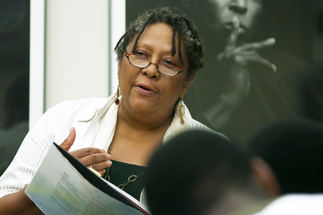 Marilyn Nelson reads from her work at the African American Cultural Center. (Sean Flynn/UConn Photo)