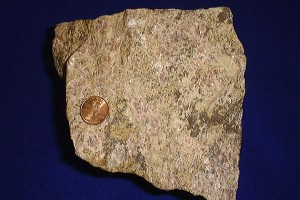 Rare earth ore, shown with a United States penny for size comparison. (Wikimedia Commons Photo)