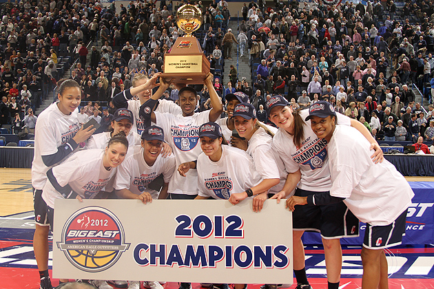The Huskies celebrate winning the 2012 Big East Women's Basketball Tournament Championship Tuesday night at the XL Center in Hartford (Bob Stowell '70 (CLAS)/Big East)