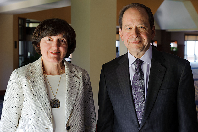 Lynne Healy, left, professor of social work, and Kent Holsinger, vice provost and dean of the graduate school were both awarded distinguished status by the Board of Trustees on April 25, 2012. (Peter Morenus/UConn Photo)