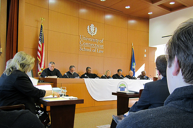 The Connecticut Supreme Court meets at the School of Law's William R. Davis Courtroom , Tuesday morning, as part of its