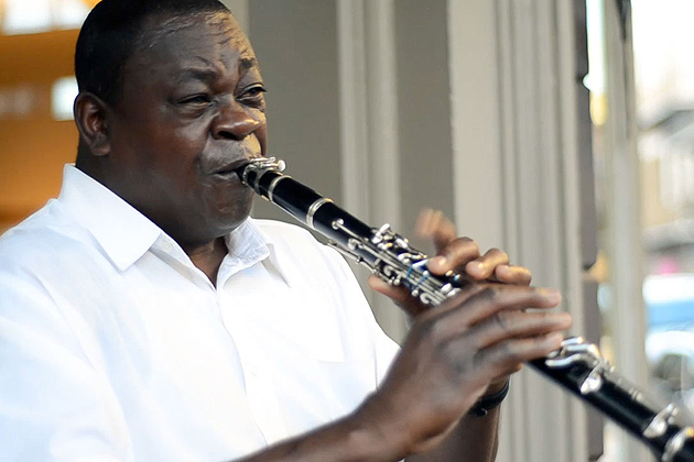 Man playing a clarinet.
