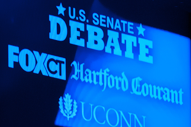 Five democratic candidates for U.S. senate participate in a debate at at von der Mehden Auditorium. at the University of Connecticut in Storrs on April 9, 2012. (Peter Morenus/UConn Photo)